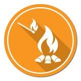 Icona della siluetta del fuoco di accampamento Fotografie Stock