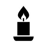 Icona della siluetta di vettore della candela illustrazione di stock