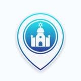 Icona della sinagoga sul puntatore della mappa Fotografie Stock Libere da Diritti