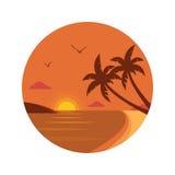 Icona della spiaggia di tramonto Immagini Stock Libere da Diritti