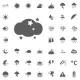 Icona della stella e della nuvola Icone di vettore del tempo messe Fotografia Stock Libera da Diritti