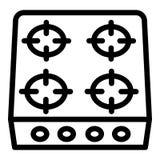 Icona della stufa, stile del profilo royalty illustrazione gratis