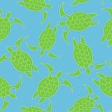Icona della tartaruga di mare Modello senza cuciture con il turchese della tartaruga verde su un fondo blu Illustrazione di vetto royalty illustrazione gratis