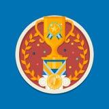 Icona della tazza del vincitore Tazza del trofeo Illustrazione di vettore Fotografie Stock Libere da Diritti