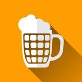 Icona della tazza di birra, ombre lunghe, illustrazione di vettore Fotografie Stock Libere da Diritti