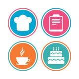Icona della tazza di caffè Cuoco unico Hat Symbol Torta di compleanno Fotografia Stock