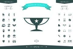 Icona della tazza di campioni dei premi con la stella Fotografia Stock Libera da Diritti