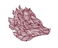 Icona della testa decorativa della volpe Fotografia Stock