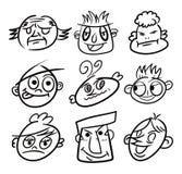 Icona della testa del fumetto di tiraggio della mano illustrazione di stock