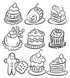Icona della torta del fumetto di tiraggio della mano Fotografie Stock Libere da Diritti