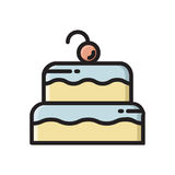 Icona della torta di compleanno stratificata due con la ciliegia sulla cima Immagini Stock
