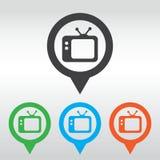 Icona della TV Retro TV perno della mappa dell'icona Fotografie Stock