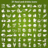 81 icona delle bevande e dell'alimento illustrazione vettoriale