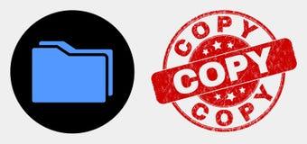 Icona delle cartelle di vettore e bollo graffiato della copia illustrazione vettoriale