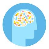 Icona delle droghe e del cervello Fotografie Stock