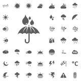 Icona delle gocce di pioggia e dell'ombrello Icone di vettore del tempo messe Fotografie Stock Libere da Diritti
