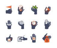 Icona delle mani messa per il sito Web o l'applicazione Immagine Stock