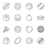 Icona delle palle di sport messa su fondo bianco Fotografia Stock