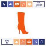 Icona delle scarpe delle donne, la siluetta moderna Voce di menu nel web design Immagine Stock