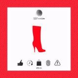 Icona delle scarpe delle donne, la siluetta moderna Voce di menu nel web design Fotografia Stock Libera da Diritti