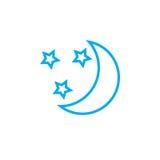 Icona delle stelle e della luna isolata su fondo bianco Illustrazione di vettore Fotografie Stock