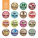 Icona dello scaffale del supermercato messa - 2 Fotografie Stock Libere da Diritti