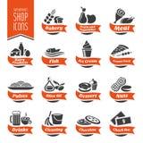 Icona dello scaffale del supermercato messa - 4 Immagini Stock Libere da Diritti