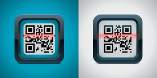 Icona dello scanner di codice di vettore QR Fotografia Stock Libera da Diritti