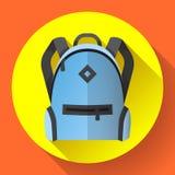 Icona dello zaino blu luminoso di viaggio o della scuola Illustrazione Vettoriale