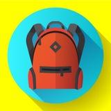 Icona dello zaino rosso luminoso di viaggio o della scuola Illustrazione Vettoriale