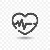Icona descritta del battito cardiaco Fotografia Stock Libera da Diritti