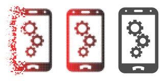 Icona Destructed di Dot Halftone Smartphone App Gears illustrazione vettoriale