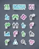 Icona di affari dell'autoadesivo messa con le ombre lunghe Immagini Stock Libere da Diritti
