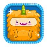 Icona di App con il mostro lanuginoso di giallo divertente del fumetto royalty illustrazione gratis