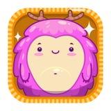 Icona di App con il mostro lanuginoso di rosa divertente del fumetto illustrazione di stock