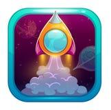 Icona di App per il gioco o web design con avviare razzo arancio Fotografia Stock