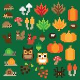 Icona di autunno del pixel messa nel vettore Immagine Stock