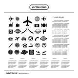 Icona di base messa per l'aeroporto Immagine Stock