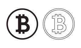 Icona di Bitcoin con il profilo e lo stile normale Logo con la linea stile d'avanguardia Vettore di concetto di commercio elettro Fotografie Stock Libere da Diritti