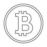Icona di Bitcoin con stile del profilo Logo con la linea stile d'avanguardia Vettore di concetto di commercio elettronico Fotografie Stock