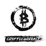 Icona di Bitcoin dai colpi della spazzola di lerciume Fotografie Stock