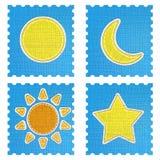 Icona di bollettino meteorologico nello stile del tessuto. Immagini Stock