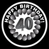 Icona di buon compleanno - quarantesima felice Fotografia Stock Libera da Diritti