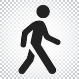 Icona di camminata di vettore dell'uomo Illustrazione del segno della passeggiata della gente Affare illustrazione di stock