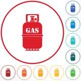 Icona di campeggio della bottiglia di gas illustrazione di stock
