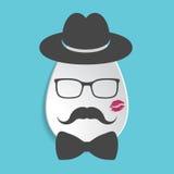 Icona di carta con black hat, baffi, farfallino, bacio dell'uovo del rossetto Fotografia Stock Libera da Diritti