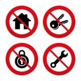 Icona di chiave domestica Simbolo dello strumento di servizio della chiave Immagine Stock Libera da Diritti