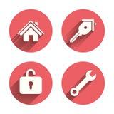 Icona di chiave domestica Simbolo dello strumento di servizio della chiave Immagini Stock