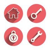 Icona di chiave domestica Simbolo dello strumento di servizio della chiave Fotografia Stock