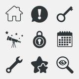 Icona di chiave domestica Simbolo dello strumento di servizio della chiave Fotografie Stock